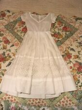 Vintage Dress Crisp White Band Of Buttons Embroidery, Lace Inside 40s-50s