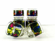 Libby Stained Glass Motif Low Ball Glasses Tumblers 8pcs Bar Ware MCM Vintage