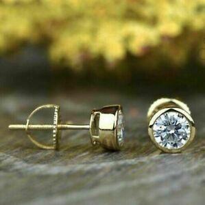 2.10 Ct Round Bezel Set Moissanite Screw Back Earrings 14k Yellow Gold Finish