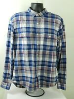 Old Navy Button Up Long Sleeve Flannel Shirt Mens Size XL Slim Fit Blue