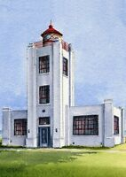Point Hueneme Lighthouse California Matted Watercolor Art Prints