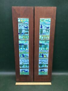 Mid Century Modern Two Matching Abstract Ceramic Tile Wall Hangings Pictures