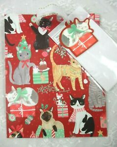 CLEMENTINE ALL KINDS OF CATS XMAS GIFT BAG/ TISSUE/ TAG 9.5 x 7.75 x 3.75 MORE!