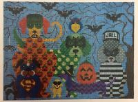 Needlepoint HandPainted JP Needlepoint HALLOWEEN Dogs Gone BAD 9x12