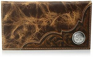 Ariat Mens Distressed Corner Over Circle Rodeo Wallet Checkbook Cover (Tan)