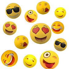Set of 12~ Emoji Face Beach Ball Inflatable Round for Water Play Pool & Kids 12""