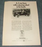 "1972 Valvoline Motor Oil Vintage Foyt Ad ""A.J. Was Born with A Steering Wheel.."""