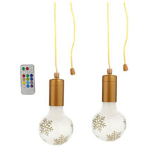 "Improvements 2-pack Holiday Color Changing 4"" Hanging Pull Lights,Gold Snowflake"