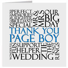 Thank You Pageboy Wedding Word Card or Gift Tag UK FREE POST