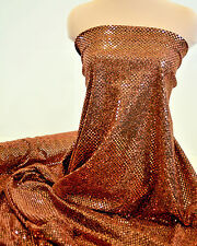 SEQUIN KNIT DISCO DOTS FABRIC COPPER COSTUME, DANCE, PAGEANT, CHEER BOWS BTYD