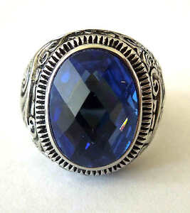 man's stainless steel oval shape blue sapphire stone ring size 8