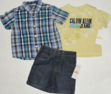 NUOVO CALVIN KLEIN 3pz Set di 12 mesi Top, Polo, Denim Shorts Auth