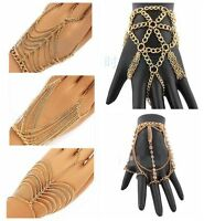 Tassel Bracelet Bangle Finger Hand Harness Gold Slave Celebrity Multi Chain