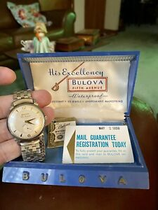 Mens Original 1959 Bulova 10K RGP 23 Jewels USA Vintage SLIM Case Watch Boxed