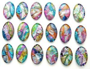 OVAL MULTI COLORS 18 pcs DICHROIC FUSED GLASS pendant earrings (BB8) CAB MOSAIC