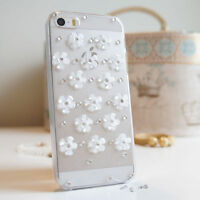 3D Flower Luxury Bling Gem Diamond Crystal Case Cover For iPhone 4S 5S 5C 6S PLU