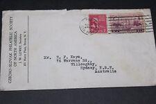 USA 1939 CZECHO-SLOVAK PHILATELIC SOCIETY COVER TO AUSTRALIA