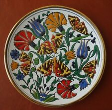 "Rhodos Greece 7"" Hand Made Floral Butterfly Ceramic Plate 24K Gold, Manousakis"