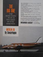 6/1967 PUB SWEARINGEN AIRCRAFT SAN ANTONIO TEXAS MERLIN IIA AVION ORIGINAL AD