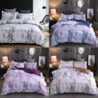 Modern Duvet Doona Quilt Cover Set 3Pcs Marble Printed Bedding Set Queen King