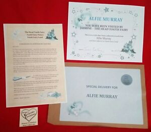 LETTER From The TOOTH FAIRY Personalised Keepsake Certificate And Envelope BOY