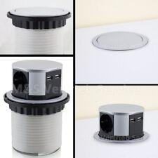 BITUXX Tischsteckdose 3 fach versenkbar rund 3er Steckdosenleiste mit 2x USB