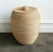 Basket with lid, handmade, rattan, storage, barrel, decorative, planter, decor