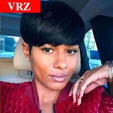 Human Hair Wigs VRZ Celebrity Pixie Cut Very Short  Black Fulffy Straight Wigs