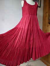Monsoon Indio Rojo Vintage Algodón Vestido Maxi gitano con volantes, bordado, Hippy Boho