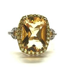 Sterling 925 Gold Tone Emerald Cut Yellow Citrine Prasiolite Halo Cocktail Ring