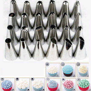 24Pcs Icing Piping Nozzles Tips Pastry Cake Sugarcraft Cupcake Decor Bake Tool