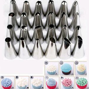 24Pcs Icing Piping Nozzles Tips Pastry Cake Sugarcraft Cupcake Decor Bake Tool