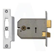 Union 2077 Horizontal 3 Lever Door Sashlock 127mm Satin Chrome Keyed To Differ