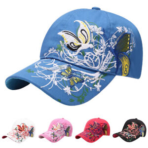 Ladies Womens Embroidery Butterfly Baseball Cap Adjustable Summer Sequin Sun Hat