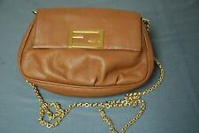 Pristine FENDI brown leather gold chain shoulder bag crossbody handbag