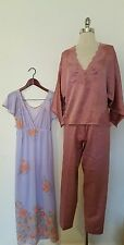 Lily of France Pajama Lace Trimmed and Semi Sheer Floral Sleeping Gown Nightgown