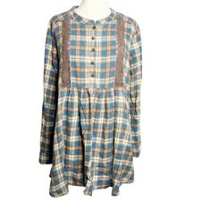 Wrangler Womens Wrancher Flannel Plaid Tunic Western Size Large