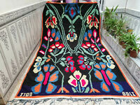 Vintage 1988 Moroccan Handmade Rug Azilal Rug Beni Ourain Berber Wool Carpet