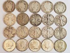 20 Coin Roll Barber Walking Liberty Kennedy Silver Half Dollars 060