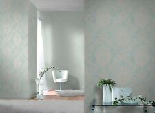 MINT WHITE SILVER ORNAMENT DAMASK PATTERN QUALITY FEATURE WALLPAPER 204810 RASCH