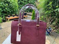 MAISON de NIMES House of Fraser Ladies Burgundy Suede Bowler Handbag BNWT