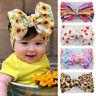 Baby Girls Child Wide Hair Band Headband Flower Print Big Bow Hair Accessories
