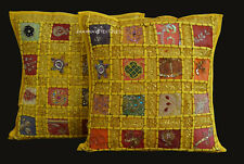 "16"" Indian Zari Floral Embroidered Square Pillow Case Throw Sofa Cushion Cover"