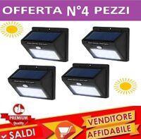 4 Lampada Solare Esterno Giardino Faretto Fotovoltaico Sensore Luce 20 LED Faro