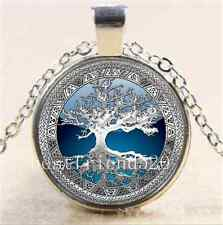 Celtic Silver/Blue Tree Of Life Glass Cabochon Tibet Silver Chain Necklace