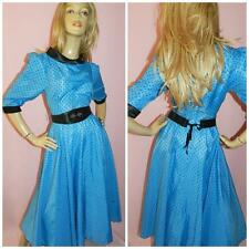 80s Blu Nero A Pois 50s Swing dita Prom Party Dress 10-12 Fantasy da sera