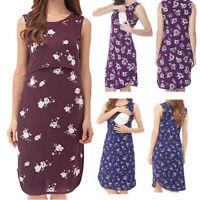 Women Maternity Summer Casual Floral Tank Vest Sleeveless Dress Nursing Sundress