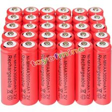 30x AA battery batteries Bulk Nickel Hydride Rechargeable NI-MH 3000mAh 1.2V Red