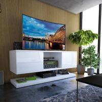 WIZZ meuble TV suspendu 140 cm blanc gris noir moderne LED optionnel