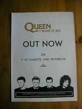 QUEEN - I WANT IT ALL - ADVERT - 21 x 29.5cm.